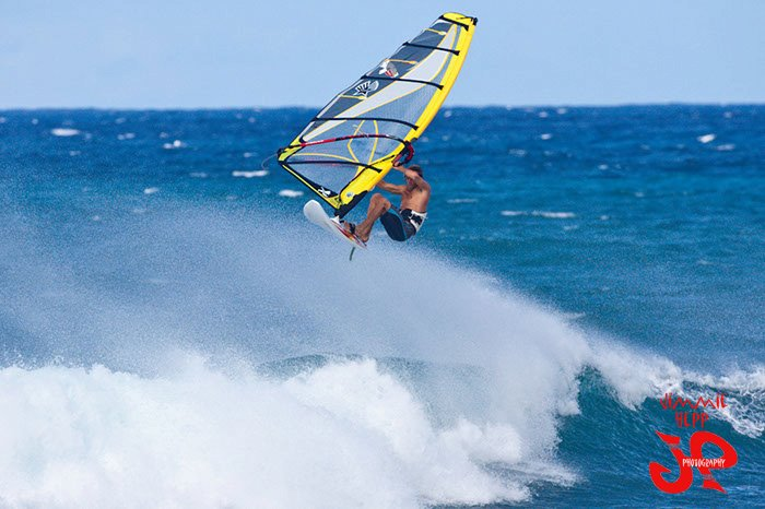 Windsurfer Thomas Hasch aerial at Ho'okipa Beach Park Maui. Photo by Jimmie Hepp